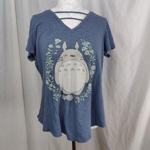 My Neighbor Totoro V Neck Cap Sleeve Tee Shirt